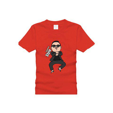 Hot Gangnam Style Standard PSY Horse Dance Short Sleeve Cotton T-Shirt For Women - RED M