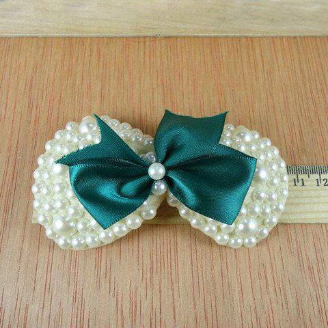 Sweet Style Chiffon Bowknot Beads Embellished Duck Clip For Women - DEEP GREEN