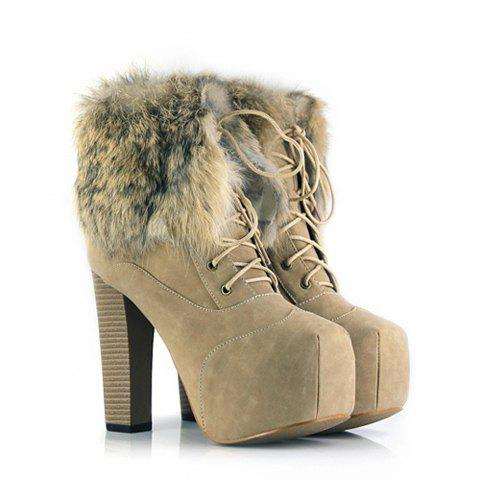 Casual Imitation Fur and Lace-Up Design Chunky Heel Women's Short Boots - APRICOT 36