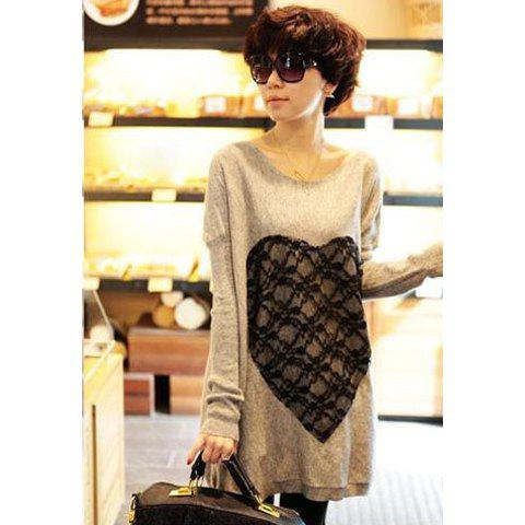 Casual Loose Fitting Lace Heart Long Sleeve Women's Long Sweater - APRICOT ONE SIZE