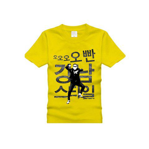 Crazy Gangnam Style The Horse Dance Short Sleeve Cotton T-Shirt For Women - YELLOW L