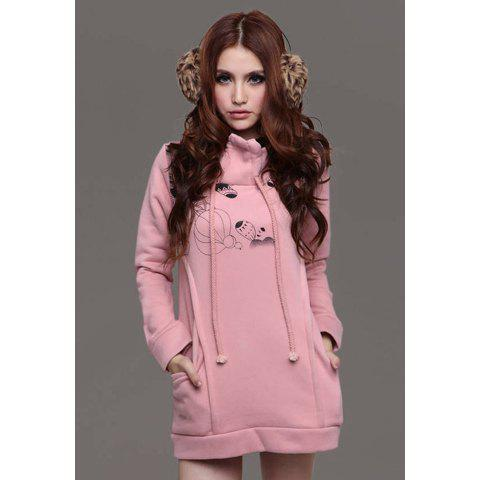 Casual Style Cartoon Printed Long Sleeve Thicken Cotton Blend Fleece Women's Hooded Hoodie - PINK L