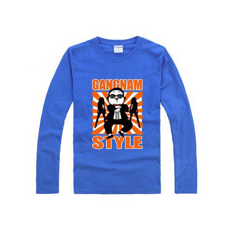 Stylish Gangnam Style Uncle PSY Horse Dance Long Sleeve Cotton T-Shirt For Women - BLUE XS