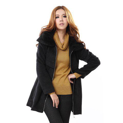 Elegant Style Faux Fur Splicing Lapel Long Sleeve Cotton Blend Worsted Women's Pleated Coat - BLACK L