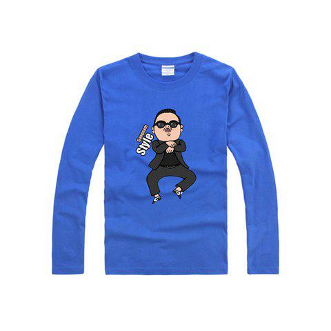 Hot Gangnam Style Standard PSY Horse Dance Long Sleeve Women's Cotton T-Shirt Unisex T-Shirt - BLUE XS