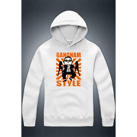 Optimized Gangnam Style Uncle PSY Horse Dance Long Sleeve Unisex Hoodies - WHITE L