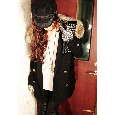 Chic Lapel Collar Double Breasted Long Sleeves Wool Blend Women's Pea Coat - BLACK S