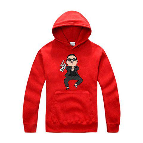 Hot Gangnam Style Standard PSY Horse Dance Long Sleeve Unisex Hoodies - RED L