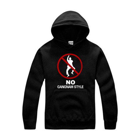 No Gangnam Style Anti-Fashion Long Sleeve Unisex Cotton Hoodies - BLACK 2XL