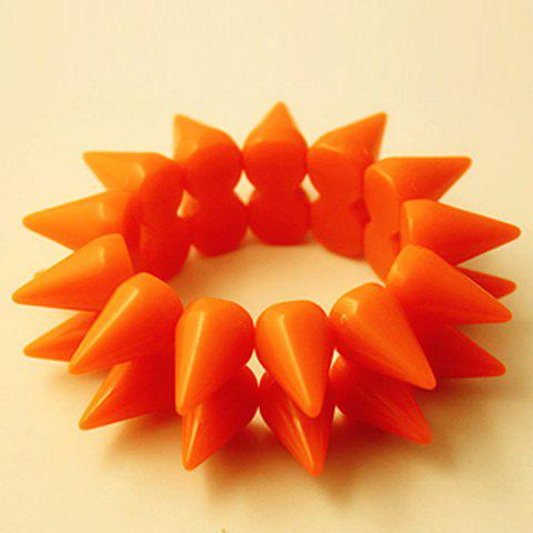 Punk Style Color Block Bistratal Fluorescence Stud Embellished Bracelet For Women - ORANGE