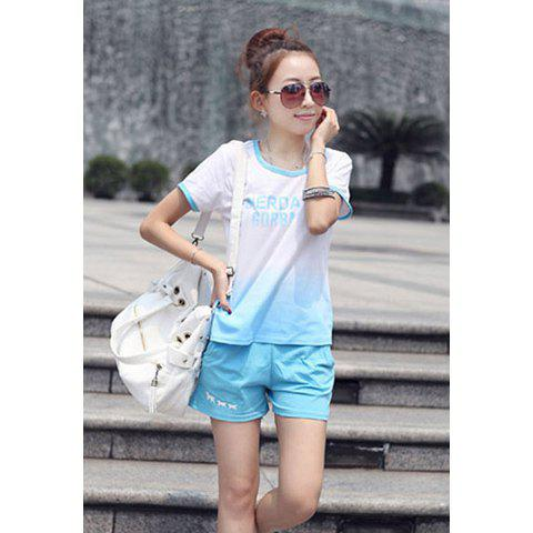 Sweet Candy Color Scoop Neck Short Sleeve T-Shirt + Shorts Women's Sport Suit