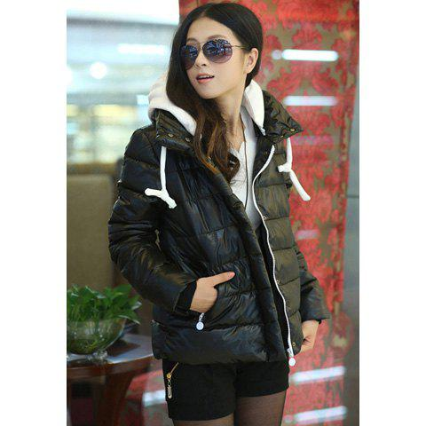 Laconic Multicolor Zipper Design Hooded Long Sleeves Womens Down JacketWomen<br><br><br>Size: XL<br>Color: BLACK