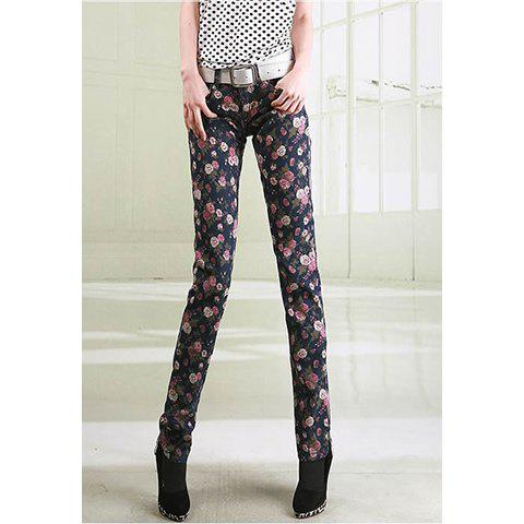 Stylish Slimming Fit Tiny Floral Print Women's Skinny Jeans - AS THE PICTURE S