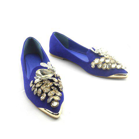 Casual Rabbit and Rhinestone Embellished Design Women's Flat Shoes - BLUE 35