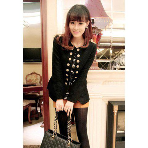 British Style Double Breasted Long Sleeves Shoulder Pad Embellished Woolen Blend Casual Women's Coat - BLACK L