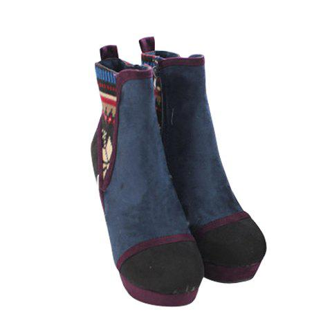 Sweet Color Block and Knitting Design Women's Short Boots - DEEP BLUE 36