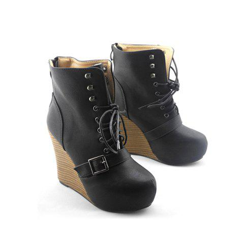 Casual Buckle and Lace-Up Design Wedge Heel Women's Short Boots