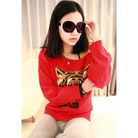 Casual Scoop Neckline Loose-Fitting Candy Color Tiger Print Long Sleeve Imitated Cotton Women's T-Shirt - RED ONE SIZE