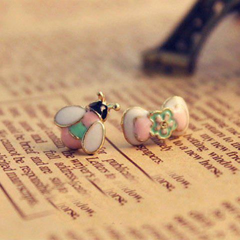 Elegant Style Bird and Flower Shape Asymmetric Stud Earrings For Women