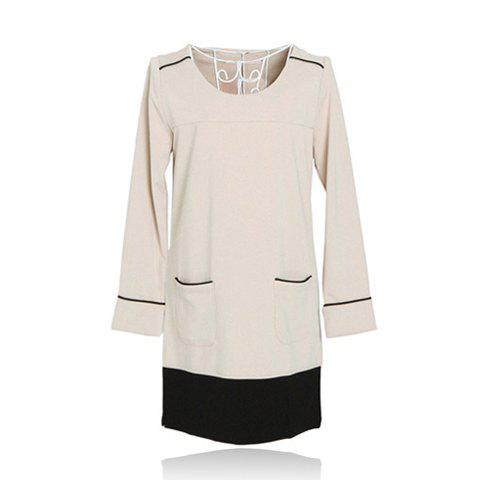 Sweet Splicing Design Women's Long Sleeve Dresses - APRICOT US 8