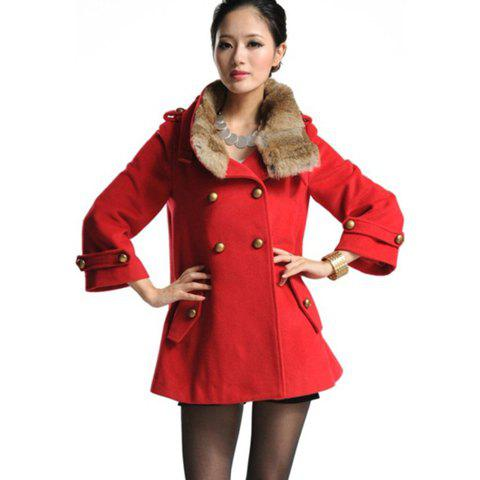Elegant Detachable Faux Fur Collar Double-Breasted Long Sleeves Women's Wool Blend Coat - RED S