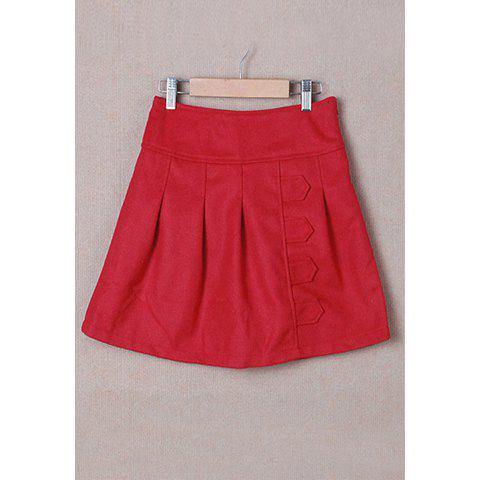 Retro Style Pleated Women's Winter Skirts - RED L