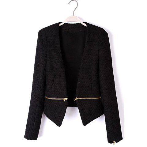 Fashion V-Neck Waist Zip Long Sleeves Women's Cotton Blend Jacket - BLACK S