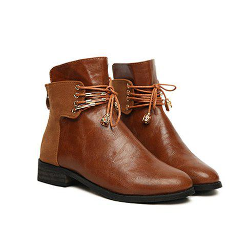 Casual Preppy Style Solid Color Vintage Lace-Up Design Women's Short Boots - BROWN 37