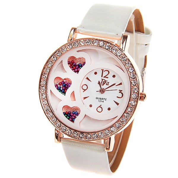 Women's Watch with Rhinestone Decoration Quartz Analog Dial Leather Watchband (White) - WHITE