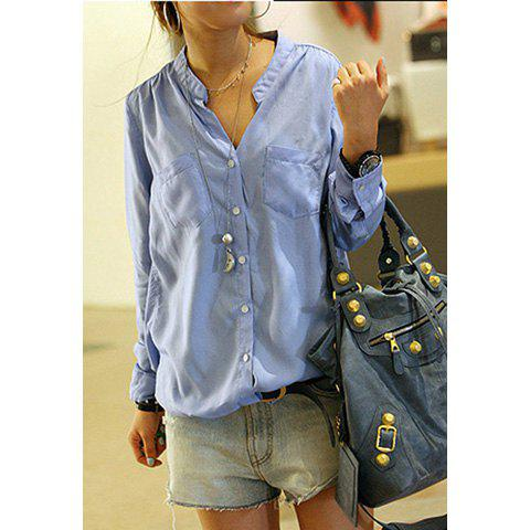Casual Loose-Fit Solid Color Single-Breasted Stand Collar Long Sleeves Women's Shirt - SKY BLUE ONE SIZE