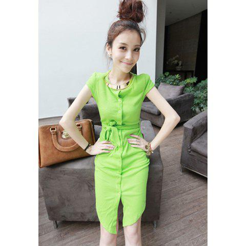 Charming Solid Color Irregular Bind Belt Short Sleeve Cotton Blend Women's Dress