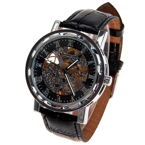 Hollow Mechanical Watch with Analog Round Dial Water Resistant Leather Watchband for Male - SILVER/BLACK