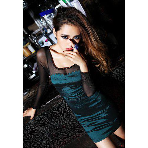 Charming Slim-Fit Black Net Yarn Splicing Scoop Neck Long Sleeves Women's Studded Dress - GREEN ONE SIZE