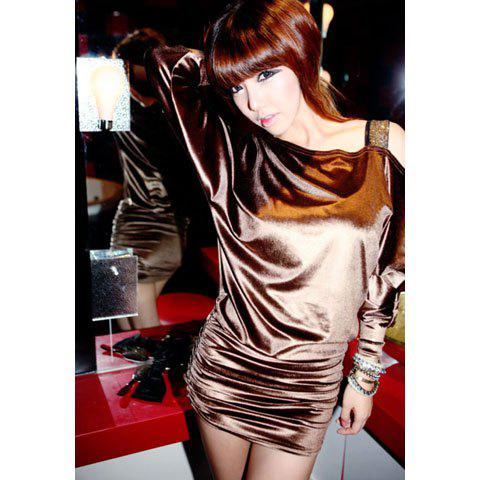 Sexy Oblique Shoulder Loose Fitting Long Sleeve Women's Skinny Dress - AS THE PICTURE ONE SIZE