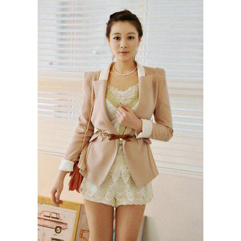 Elegant Lapel Color Block Long Sleeves Slimming Fitted Dacron Women's Blazer - LIGHT PINK M