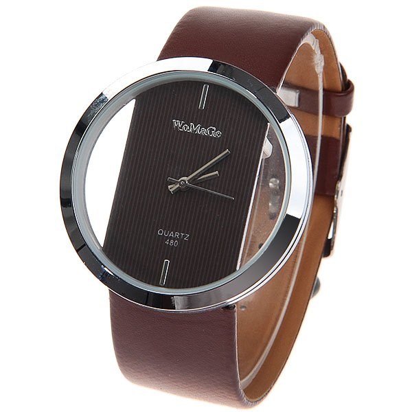 Fashionable WoMaGe Hollow Quartz Wrist Watches for Women with Brown Leather WatchbandWatches<br><br><br>Color: BROWN