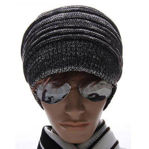 High Quality Fashion Style Warming Stripe Knitting Wool Cap For Men - BLACK ONE SIZE