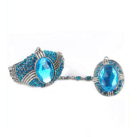 Retro Stunning Style Colorfulr Rhinestone Embellished  Bracelet With Ring For Women - BLUE