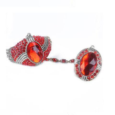 Retro Stunning Style Colorfulr Rhinestone Embellished  Bracelet With Ring For Women - RED