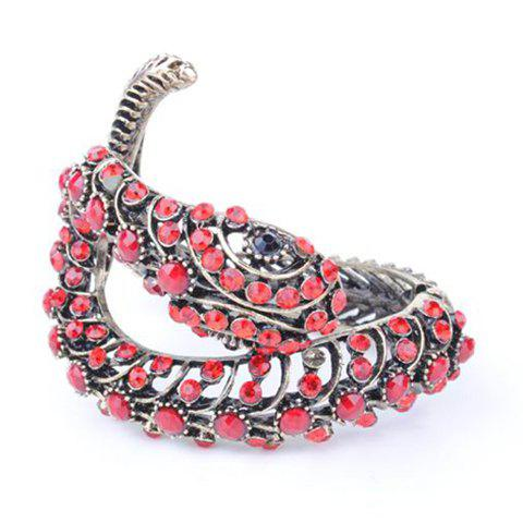 Retro and Punk Style Snake Shape Rhinestone Gemstone Inlaid Bronze Bracelet For Women - RED