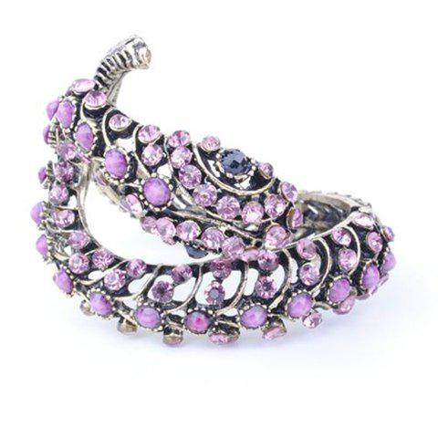 Retro and Punk Style Snake Shape Rhinestone Gemstone Inlaid Bronze Bracelet For Women - PURPLE