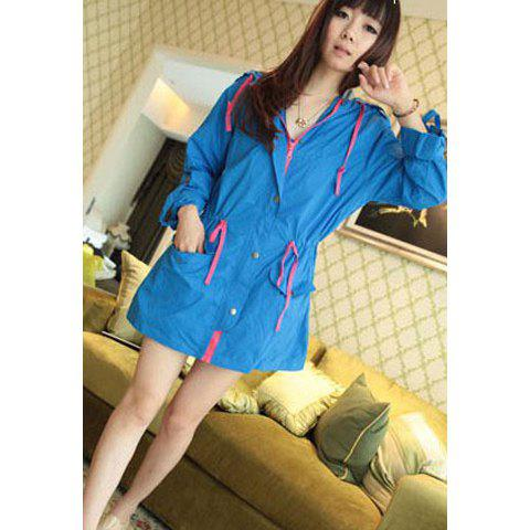 Sweet Drawstring Long Sleeve Candy Color Waterproof Hooded Women's Coat - BLUE ONE SIZE