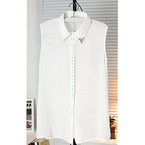Womens Chiffon Refreshing Shirt With Stud Embellished Sleeveless Single-Breasted Solid Color DesignWomen<br><br><br>Size: ONE SIZE<br>Color: WHITE