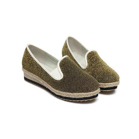 Casual Weaving and Bling-Bling Design Women's Flat Shoes - GOLD 37
