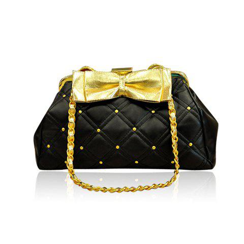 Laconic Sweet Solid Color Rhinestone Bowknot Chain Design Women's Shoulder Bag