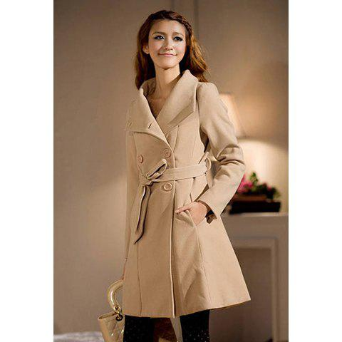 Elegant Tailored Collar Long Sleeve Solid Color Double Breasted Women's Coat - CAMEL S