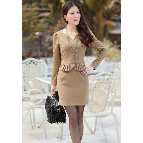 Elegant V-Neck Solid Color Flounce Puff Long Sleeves Cotton Blend Women's Dress - KHAKI M