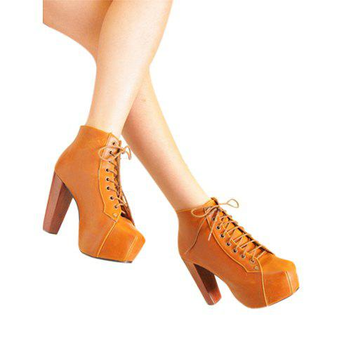 Casual Lace-Up Chunky Heel Square Head Zipper Design Women's Short Boots - YELLOW 35