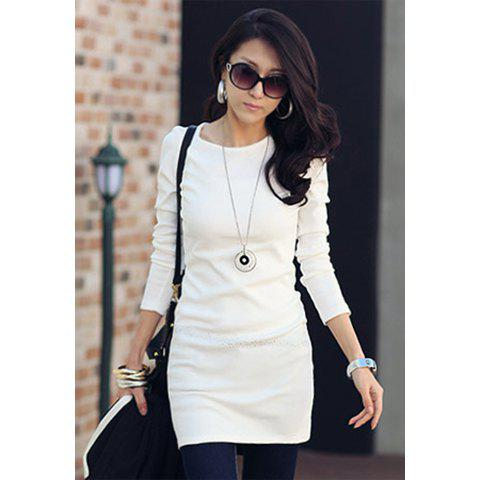 Slimming Scoop Neck Long Sleeve Solid Color Women's Dress