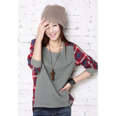 Street Fashion Checked Long Sleeve Women's T-Shirt - AS THE PICTURE L